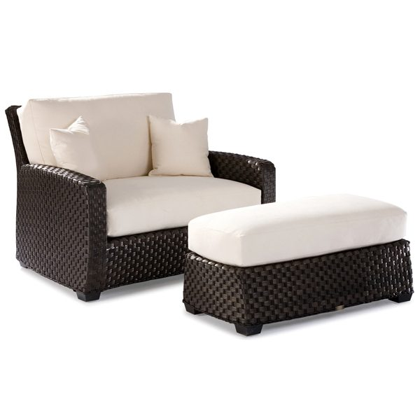Leeward wicker cuddle chair with cuddle ottoman