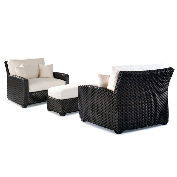 Leeward wicker cuddle chairs with cuddle ottoman