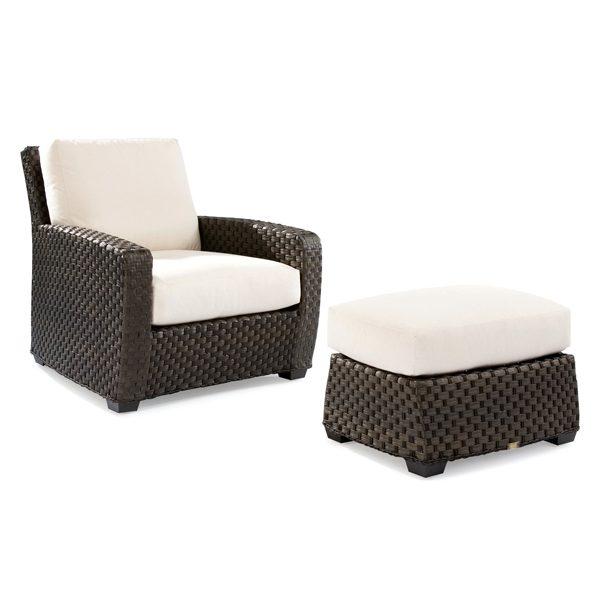 Leeward wicker ottoman shown with lounge chair
