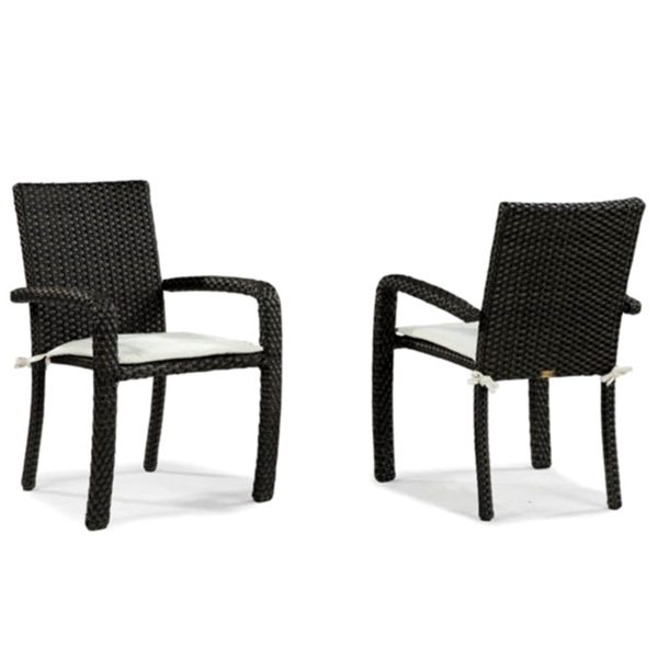 Leeward wicker stacking dining chairs with cushions