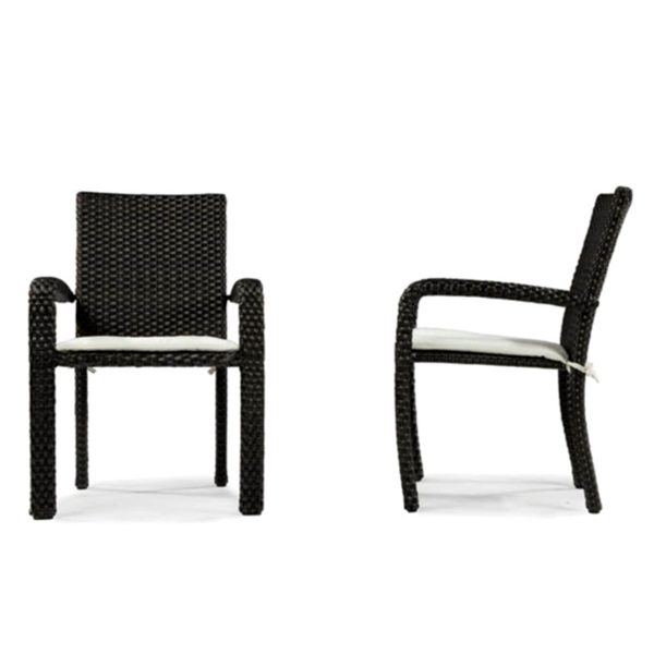 Leeward wicker stacking dining chair front and side view