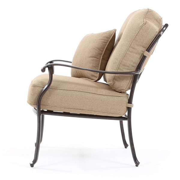 Heritage aluminum patio club chair side view