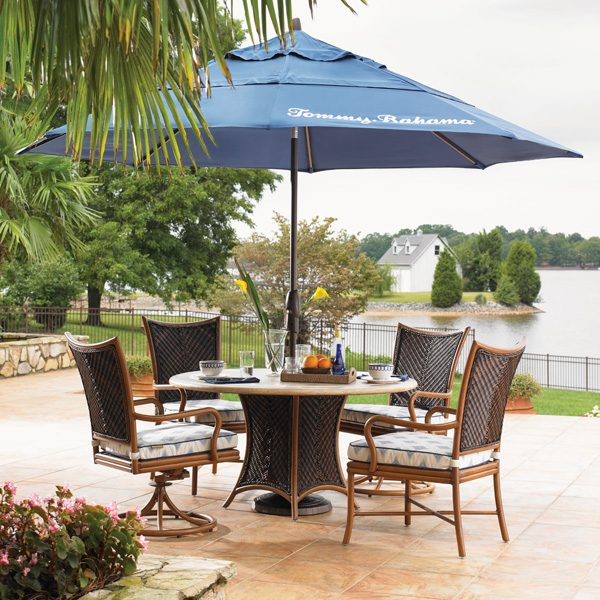 Tommy Bahama Island Estate Lanai outdoor wicker dining furniture with umbrella