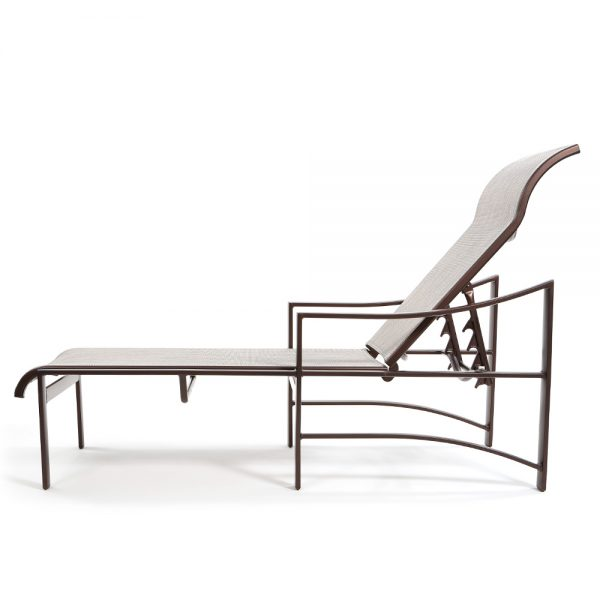 Kenzo sling aluminum outdoor chaise lounge side view