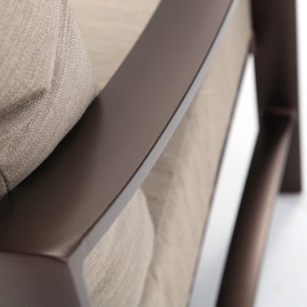 Tropitone aluminum Kenzo club chair with a Espresso frame finish