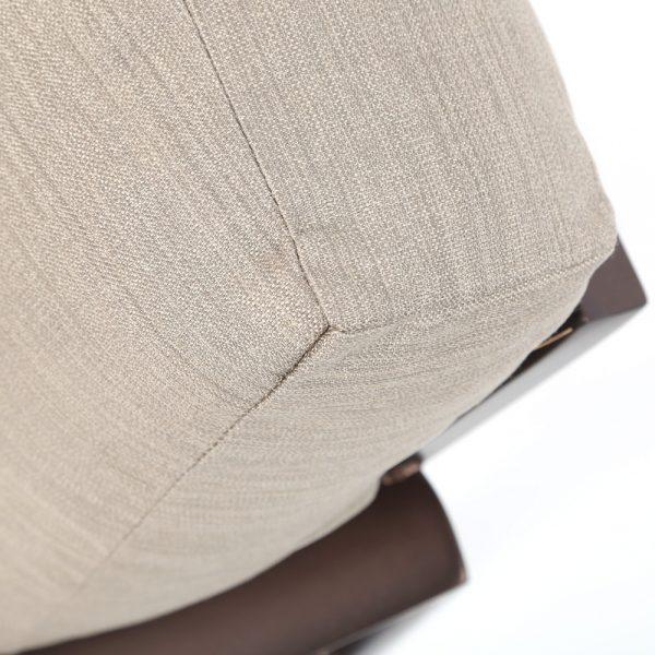 Tropitone Kenzo love seat with Sunbrella Light Brewed outdoor fabric