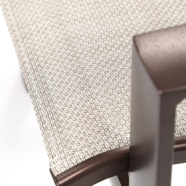 Tropitone Kenzo sling dining chair with Sparkling Water sling fabric