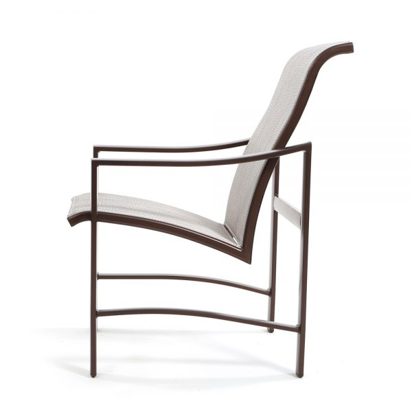 Kenzo sling low back aluminum dining chair side view