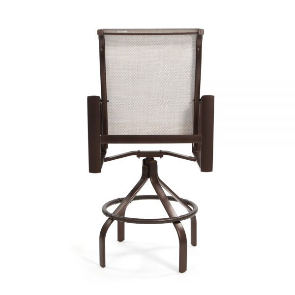 Tropitone outdoor swivel sling barstool back view