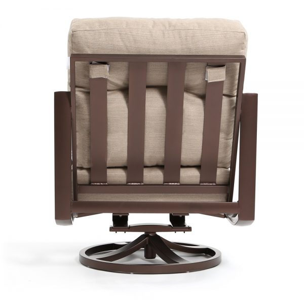 Kenzo aluminum patio swivel club chair back view
