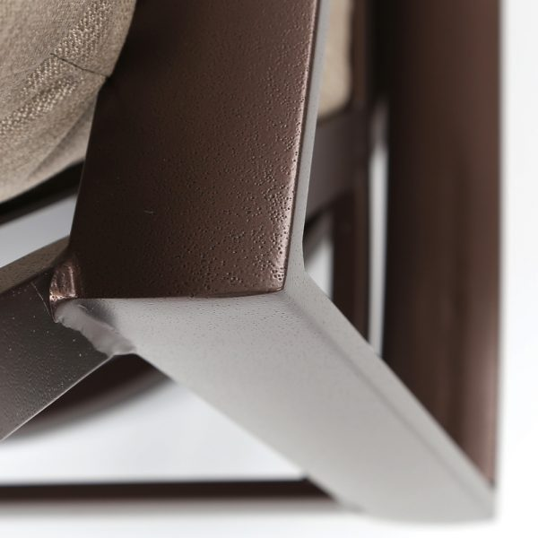 Tropitone Kenzo aluminum swivel lounge chair with a Espresso powder coat finish