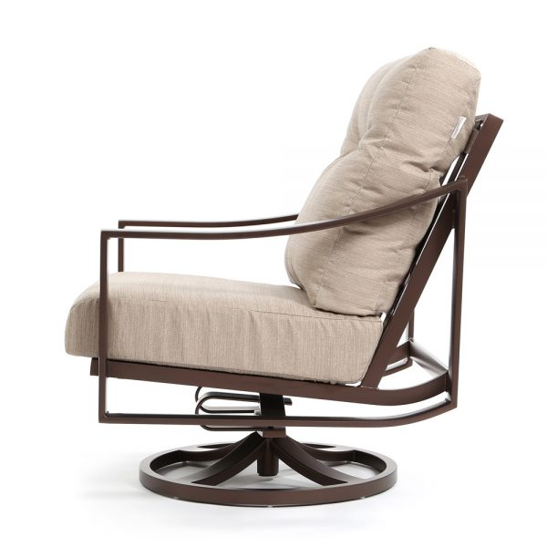 Kenzo aluminum outdoor swivel lounge chair side view