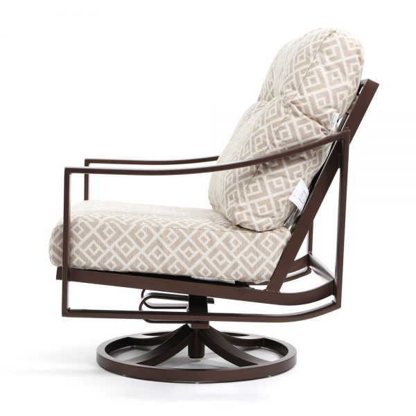 Kenzo aluminum outdoor swivel club chair side view