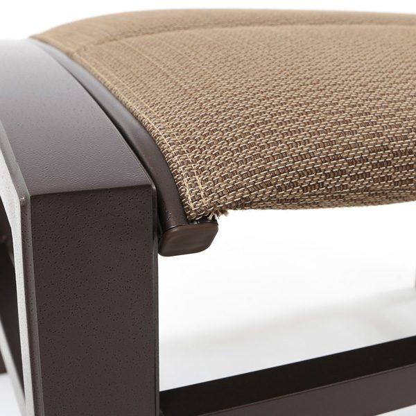 Tropitone Lakeside padded sling aluminum ottoman with a Espresso powder coat finish