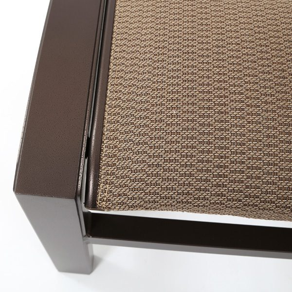 Tropitone Lakeside padded sling ottoman with 39105 Breezway sling fabric
