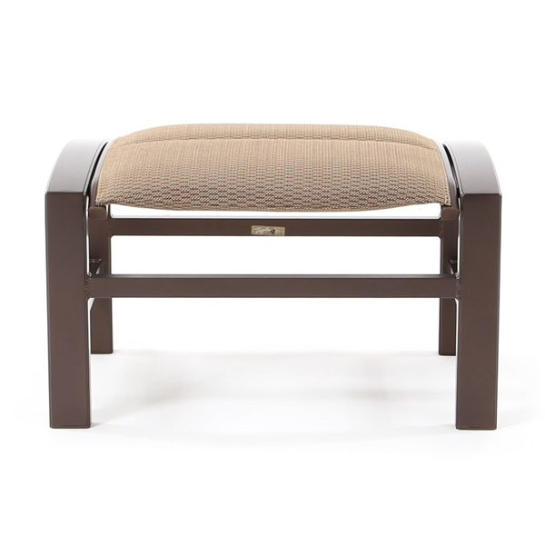 Lakeside padded sling patio ottoman front view