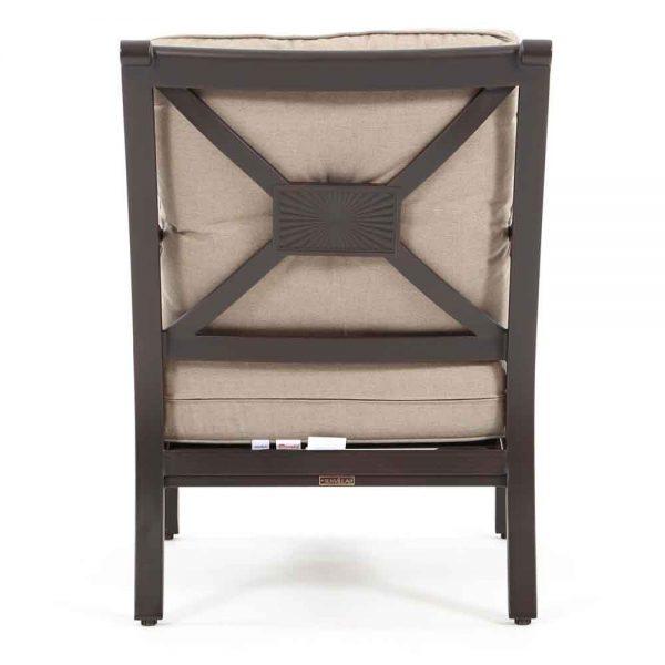 Laurel aluminum outdoor club chair back view