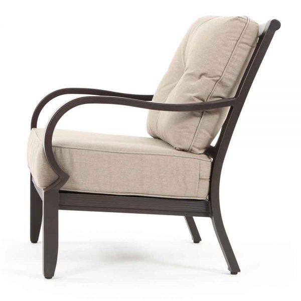 Laurel aluminum patio lounge chair side view