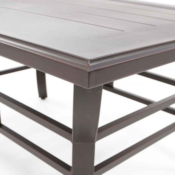 Sunvilla Laurel aluminum outdoor coffee table with a Copperhead powder coat finish