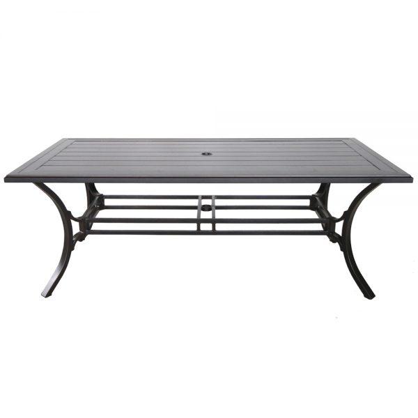 "Sunvilla 84"" x 44"" rectangle slat top aluminum dining table"
