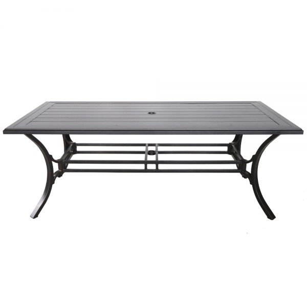 "Sunvilla 84"" x 44"" rectangle slat top aluminum dining table"