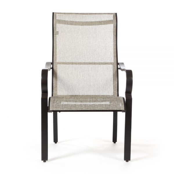 Laurel sling aluminum dining chair front view