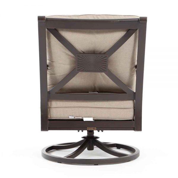 Laurel aluminum swivel lounge chair back view