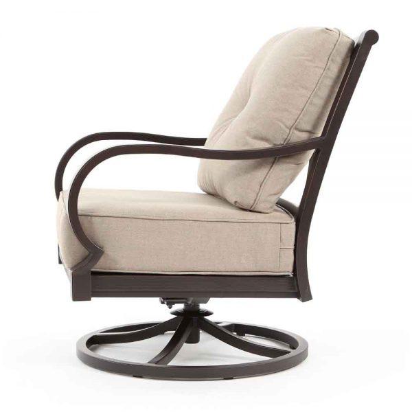 Laurel outdoor swivel club chair side view
