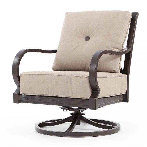Laurel aluminum swivel rocker club chair