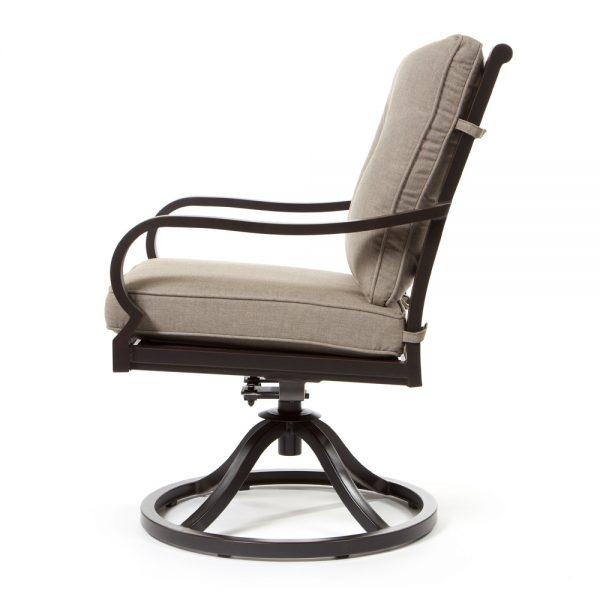 Laurel aluminum swivel rocker dining chair side view