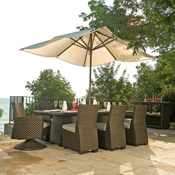 Leeward all-weather wicker dining set with umbrella