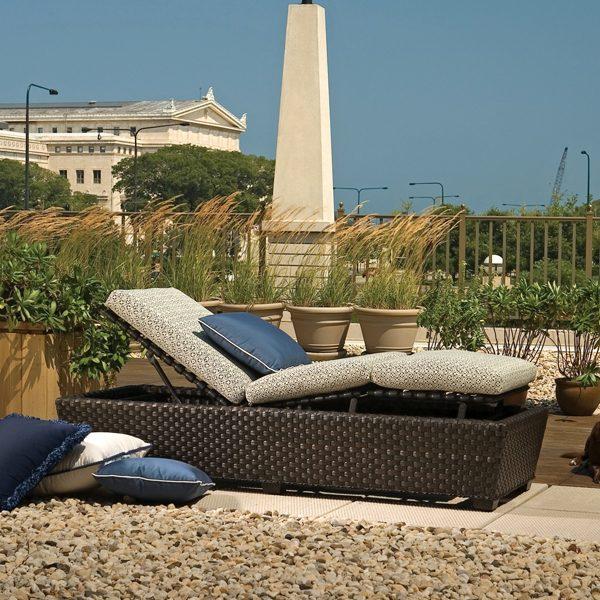 Leeward adjustable sun lounger wicker chaise
