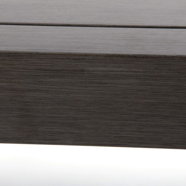 Ratana aluminum coffee table with a Ash Grey powder coat finish
