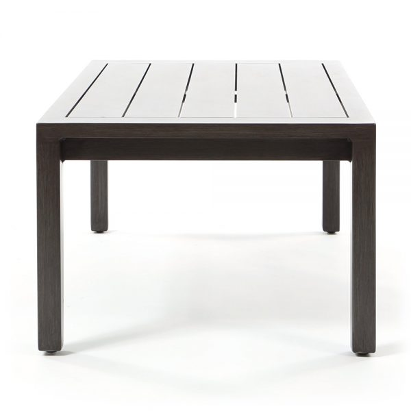 Outdoor aluminum coffee table side view