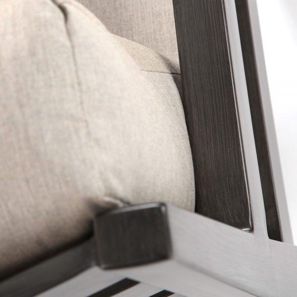 Lucia aluminum love seat with a Ash Grey powder coat finish
