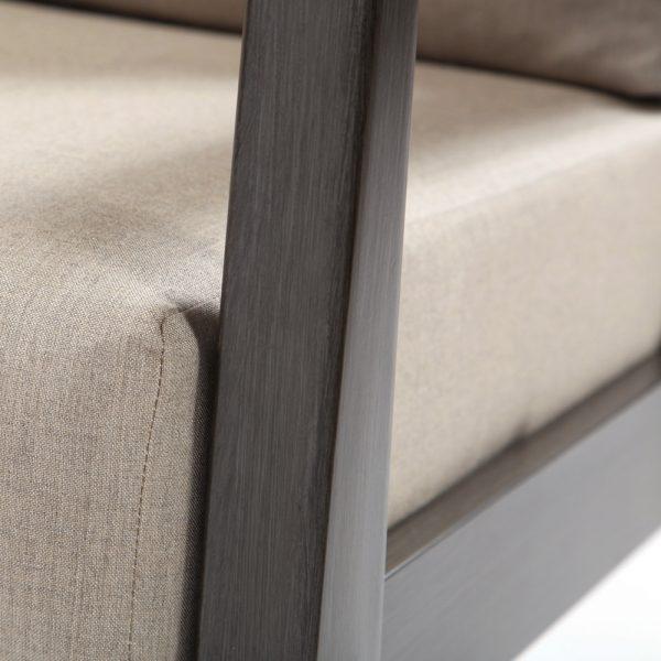 Ratana aluminum left arm love seat with a Ash Grey powder coat finish