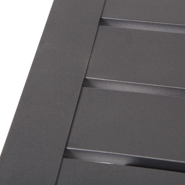 Pride aluminum table with a Matte Gunmetal powder coat finish