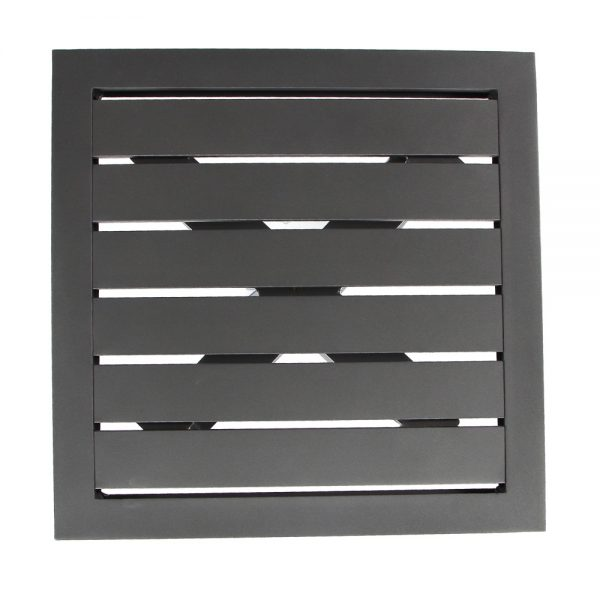 Castelle aluminum slatted top side table top view