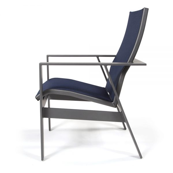 Trenot cast aluminum sling dining chair side view