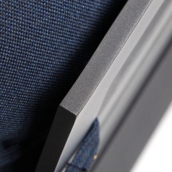 Castelle cast aluminum sofa with a Matte Gunmetal finish