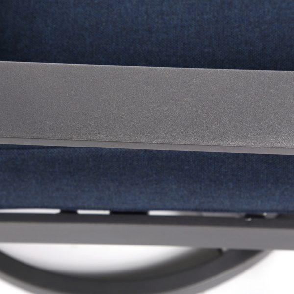 Castelle Luxe cast aluminum lounge chair with a Matte Gunmetal powder coat finish