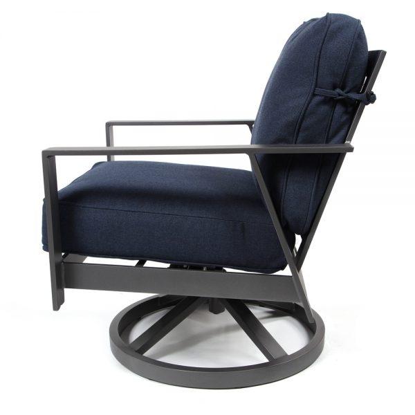 Luxe outdoor swivel rocker club chair side view