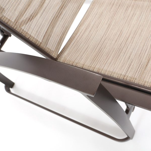 Tropitone Mainsail sing chaise lounge with an Espresso powder coat finish