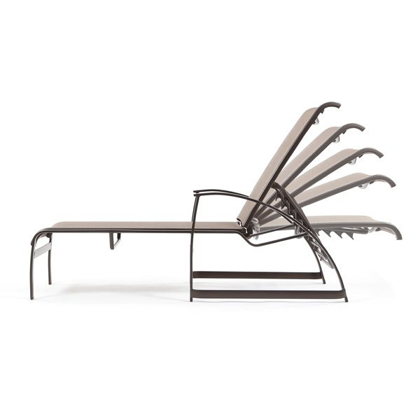 Mainsail sling outdoor chaise lounge side view with reclining positions