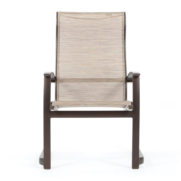 Tropitone Mainsail sling aluminum dining chair front view