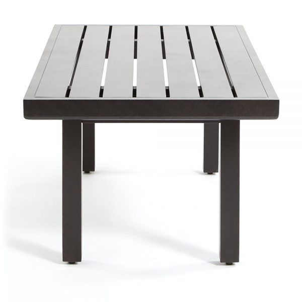 Outdoor aluminum patio coffee table side view