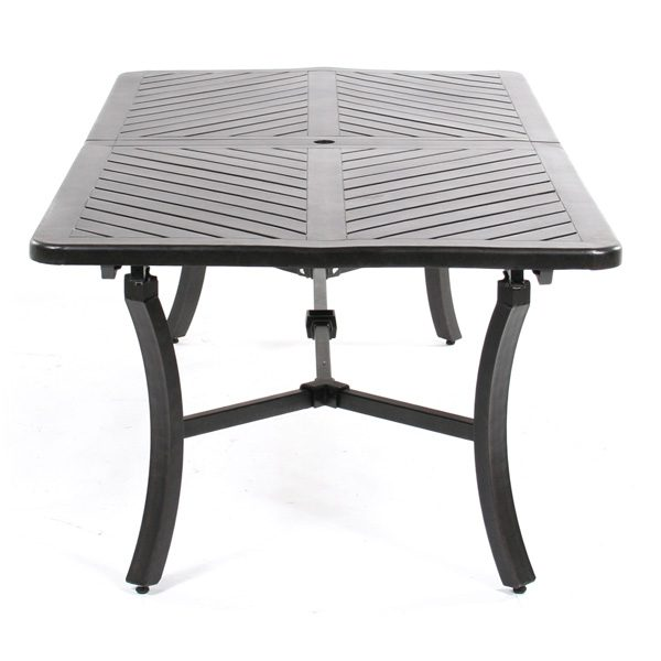 """Mallin 44"""" x 128"""" rectangle extension cast aluminum dining table front view"""
