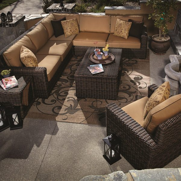 Sunset West Montecito Wicker sectional with armless club chair