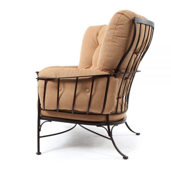 Monterra wrought iron cuddle chair side view
