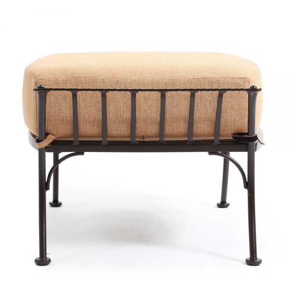 Monterra wrought iron ottoman side view